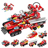Henoda Stem Building Toys for 6-12 Year Old Boys Girls, 8 in 1 Fire Truck Building Blocks Set Educational Construction Vehicle Toys for Kids Birthday Gift for 8-12 Year Old Boys Girls, 643Pcs