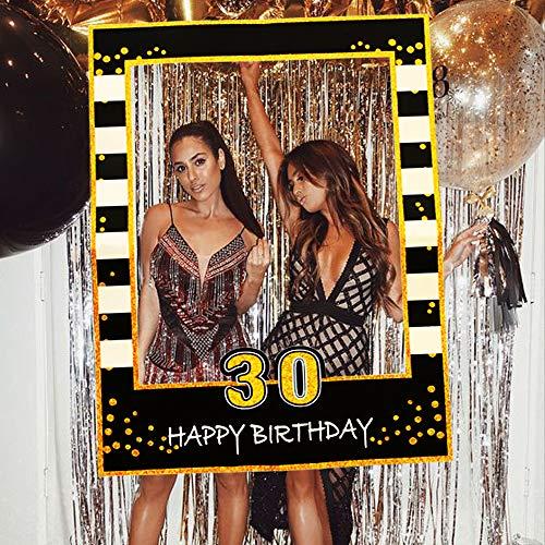 JeVenis Black Gold 30th Birthday Party Photo Booth Puntelli 30th Birthday Photo Frame Birthday Photo Frame