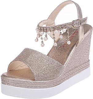 e6ecef7d BaZhaHei Sandalias señoras de Mujer de Moda de cuñas de Cristal causales  Zapatos Altos Zapatos Casuales