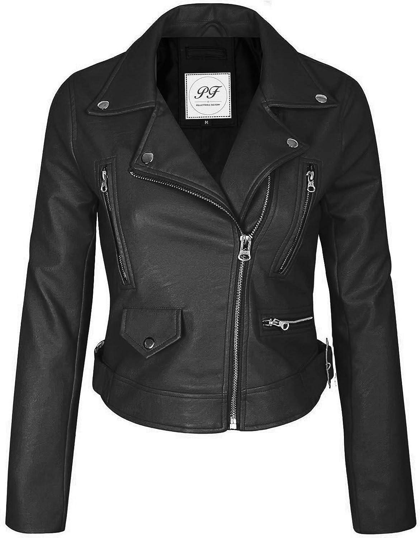 Pelletteria Factory Black Women's Faux Leather Zip Up Everyday Bomber Jacket