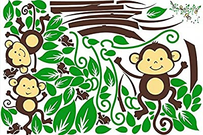 Decals Design 'Monkeys Swinging on a Branch' Wall Sticker (PVC Vinyl, 90 cm x 60 cm), Multicolour