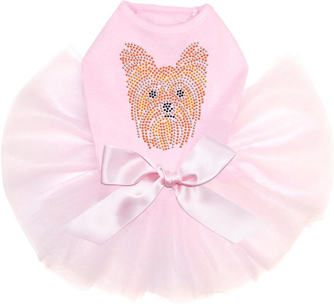 Yorkie Face Popular products # 2 Bling Bombing free shipping Rhinestone Tutu Dress Pink L Dog