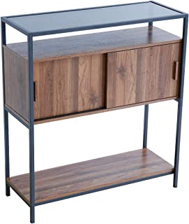 Roomfitters Entryway Console Table, Glass top Sofa Table with Sliding Door for Hallway Foyer, 2-Tier Display Shelf, Multipurpose Rectangular Modern Cabinet Table, Oak Wood
