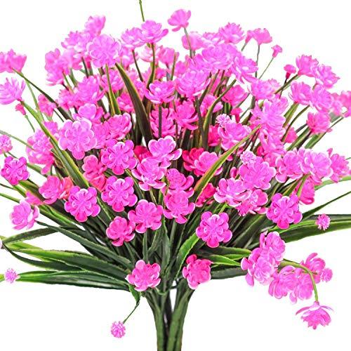 Ruiuzioong Flores Artificiales Falsas, 4 Unidades para Exteriores, Resistentes a los Rayos UV, Plantas para Colgar en Interiores y Exteriores, decoración para el hogar, jardín (Rosa, 4 Piezas)