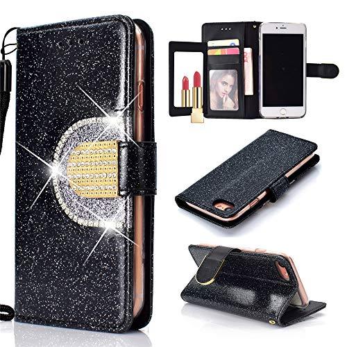 Capa carteira XYX para iPhone 7/iPhone 8, [função espelhado][Kickstand][Fivela de diamante][Compartimentos para cartões] Capa carteira protetora de corpo inteiro de couro sintético brilhante com glitter, preta