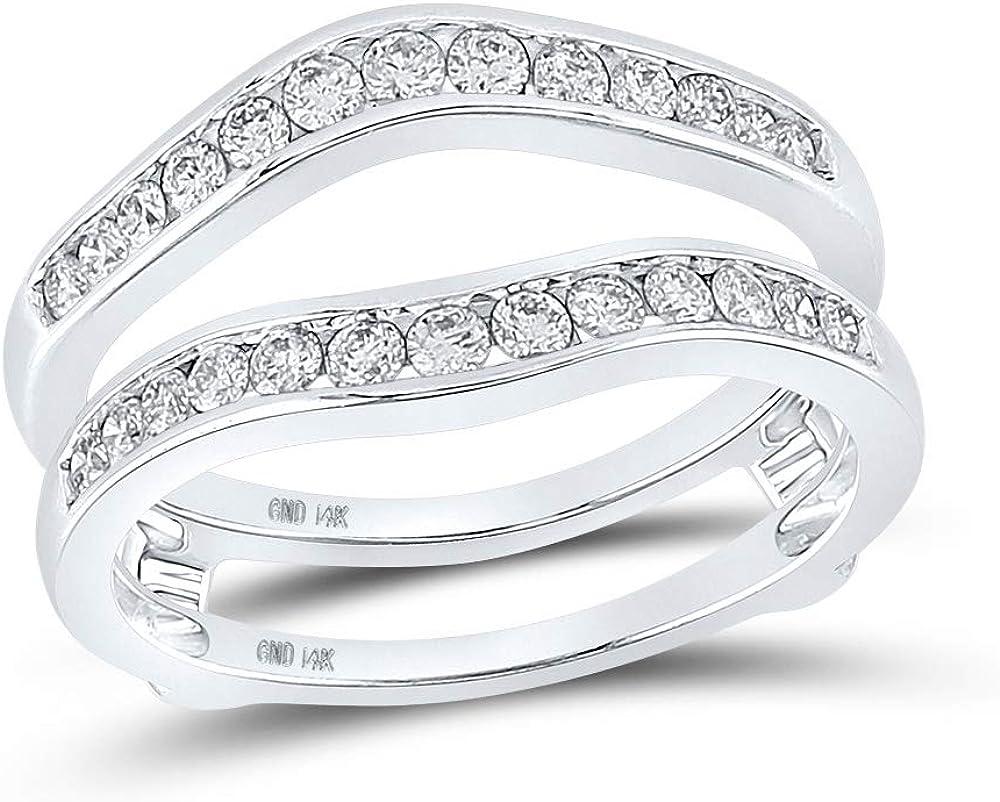 14k White Gold Womens Round Diamond Bridal Wedding Enhancer Band Wrap Ring 1/2 Cttw