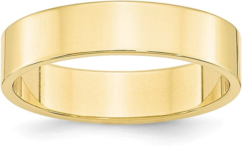 10k Yellow Gold 5mm Flat Wedding Ring Band Size 6.5 Classic Fine Jewelry For Women Gifts For Her