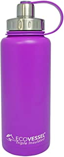 EcoVessel BOULDER TriMax Vacuum Insulated Stainless Steel Water Bottle with Versatile Stainless Steel Top and Tea, Fruit, Ice Strainer -32 ounce - Purple Haze