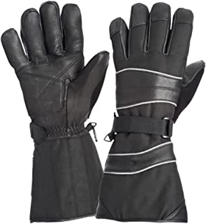 Richlu Club Polar Snowmobile Gloves with Leather Palm and Gauntlet Cuff, 100g Thinsulate, Removable Liner, Water Resistant, Size: Medium