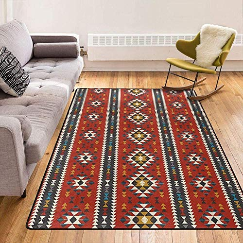 Southwest Native American Tribal Colorful Pattern Modern Area Rugs Home Decorative Rugs Yoga Mat Floor Carpets Mat Home Decor for Bedroom Living Playing Room