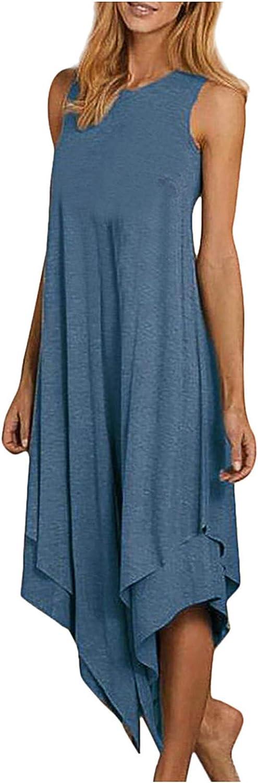 Women Tank Dress Gradient Color Midi Long Dresses Summer Sleeveless O Neck High Low Hem Casual Flowy Shirt Dress