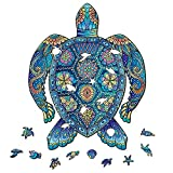 Turtle Wooden Jigsaw Puzzle 324 Pieces, 13.9 x 17.3 in (35.2 x 44 cm) with Unique Shapes for Adults & Kids by WoodGalaxy