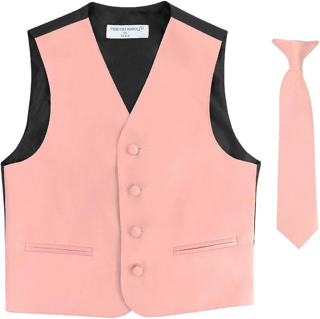 BOY'S Dress OFFer Vest NeckTie Solid DUSTY Neck Set PINK Color Tie Tucson Mall