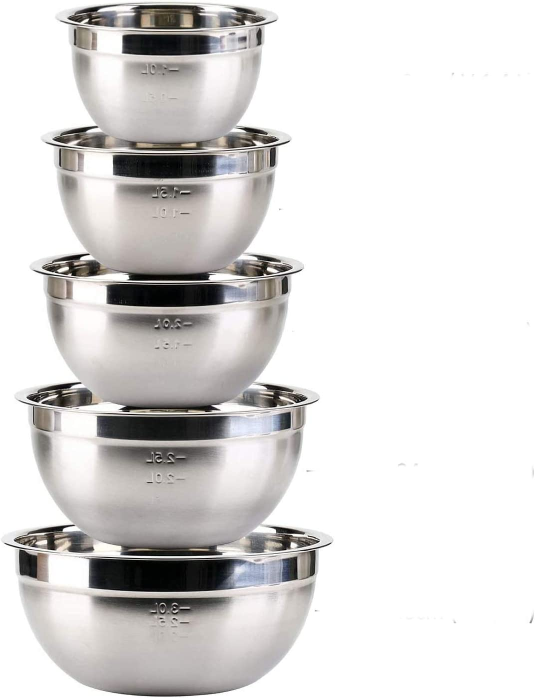 KATELUO Juego de 5 Cuencos de Cocina de Acero Inoxidable, Bol de Acero Inoxidable,Escala de (1.4L,1.9L,2.4L,3.3L,4.5L) uede ser Utilizado como tazones detazones de Fuente de la Fruta