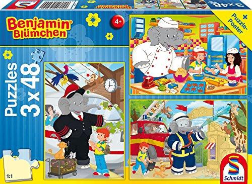 Schmidt Spiele Puzzle 56209 The Elephant Benjamin Blümchen, Immer im Einsatz, 3 x 48 Teile Kinderpuzzle, bunt
