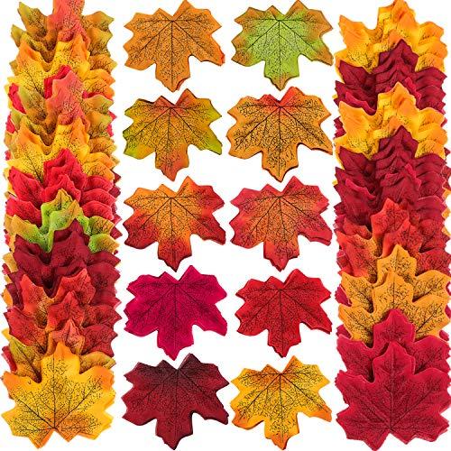 500 Piezas 10 Colores Variados Hojas de Arce de Otoño de Seda Falsa Hojas Artificiales de Otoño para Boda, Eventos y Decoración