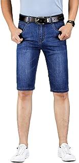 Pantalones Vaqueros para Hombre Pantalones Cortos de Verano Rectos Transpirables Casuales Delgados Color sólido Retro Pant...