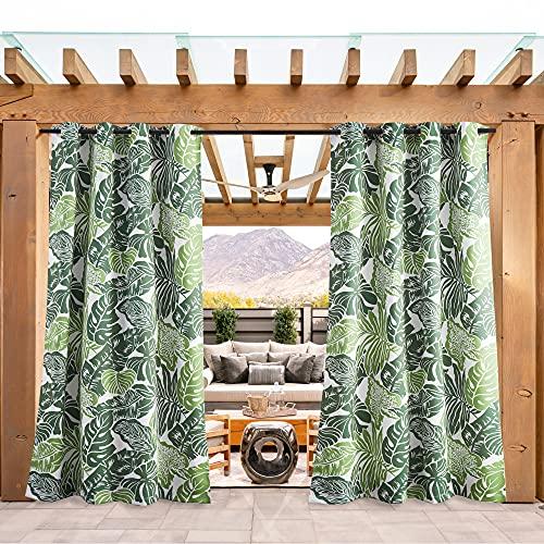 PONY DANCE Sichtschutz & Sonnenschutz Gardinen für Balkon - 1 Stück H 213 x B 132 cm Outdoor Vorhang mit Bananenblätter-Muster für Gartenlaube & Terrasse Thermo Vorhänge Ösenschal