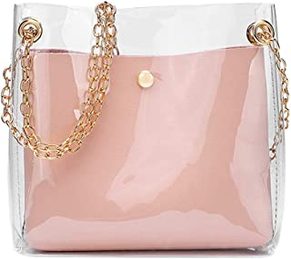 Wultia - Women Fashion Solid Shoulder Transparent Bag Messenger Bag Crossbody Bag Phone Coin Bag Sac A Main Femme #T09 Pink
