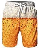 TUONROAD Bier Shorts 3D Bier Muster Druck Badeshorts Herren Schnelltrocknend Badehose Freizeit...