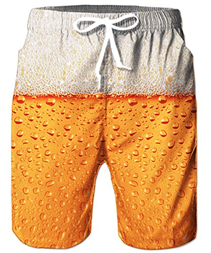TUONROAD Badeshorts für Männer 3D Print Bier Badehose Herren Hawaii Boardshorts mit Kordelzug XL