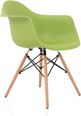 CozyBlock DAW Nordic Green Molded Plastic Dining Arm Chair with Beech Wood Eiffel Legs