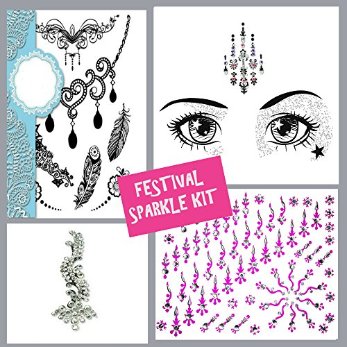 4 Pack Face Gems Face Jewels with Temporary Henna Flash Tattoos/Mermaid Rhinestone Rave Glitter/Bindis Eyes Crystals/Face Body Stick On Diamantes/festival Makeup Kit lot2