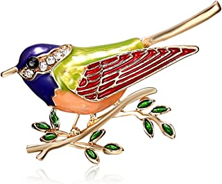8a177c2b5 Rhinestone Colorful Enamel Oriole Bird Branch Brooch Pins Men Women's Alloy  For Suits Dress Banquet Brooch