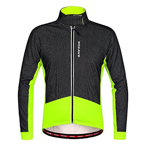 WOSAWE Herren Radjacke Winddichte Warm Mountainbike Jacke Thermische Fleece Mantel Langarm für Winter Herbst (Grün XL)