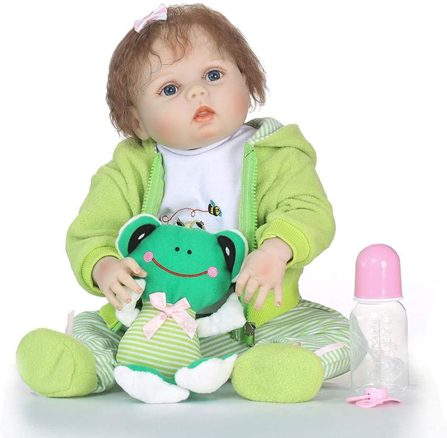TERABITHIA 22 inch Real Life Reborn Baby Doll,Happy Frog,Girl Doll Crafted in SiliconeLike Vinyl Full Body