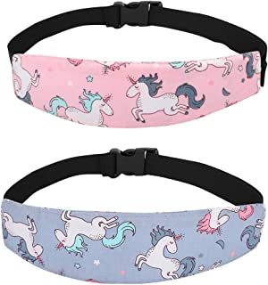 Accmor Baby Carseat Head Strap Toddler 2 Pack Unicorn Carseat Head Support for Stroller Neck Relief for Child Kids Infant(Pink Unicorn, Grey Unicorn)