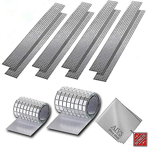 AIVS Self-Adhesive Real Glass Craft Mini Square & Round Mirrors Mosaic Tiles/Stickers for DIY Craft Decoration,5 x 5 mm,4720 Pieces (Silver)