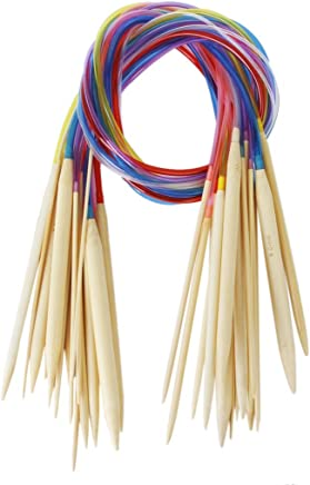 Sonline 18 Tamanos 2.0mm-10.0mm 80 cm Agujas De Tejer De Bambu Circulas Com Tubo Multicolor