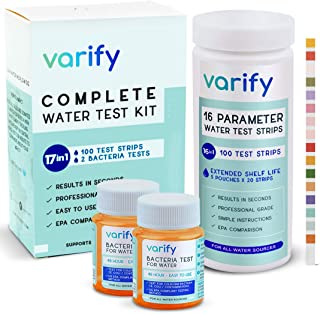 17 in 1 Premium Drinking Water Test Kit - 100 Strips + 2 Bacteria Tests - Home Water Quality Test - Well and Tap Water - E...