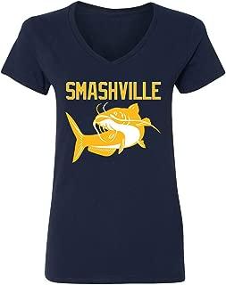 KING THREADS Smashville Nashville Catfish Women's V-Neck T-Shirt