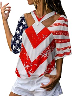 Han Shi Womens Independence Day Star and Stripes Flag Print Blouse Hollow Half Slevee T Shirt Top
