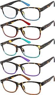 Yogo Vision Blue Light Reading Glasses for Men and Women Two Tone Havana Rectangle Readers Set of 5