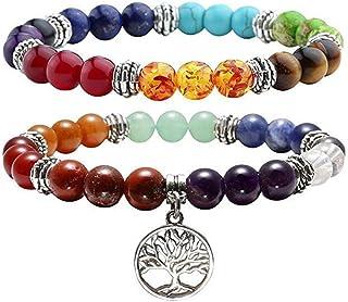 Jovivi Lot de 2PCS 7 Chakra Pierres Naturelles Perles d'Energie Bracelet Extensible Elastique Tibetain Bouddhiste avec Pen...