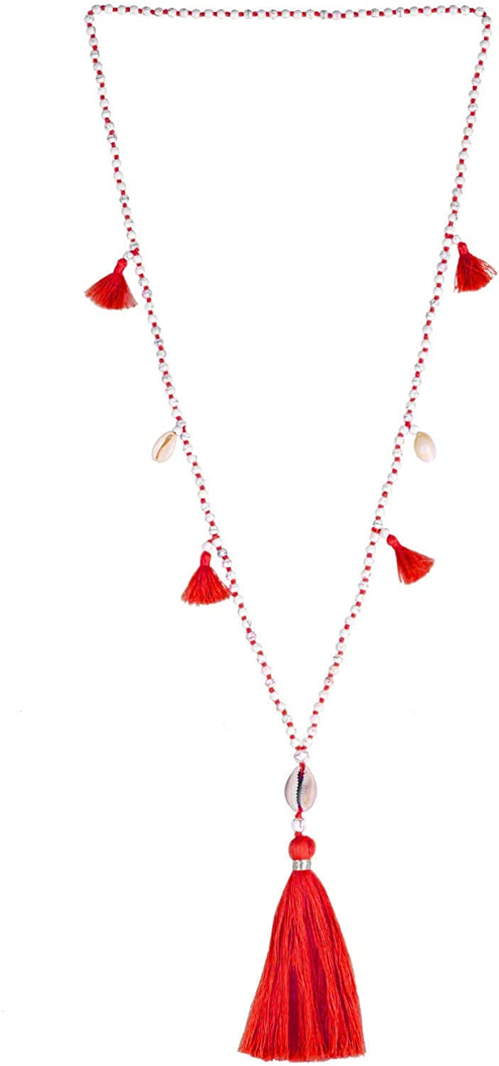 KELITCH Long Beaded Necklace Bohemia Shell Pendant Tiered Layered Tassel Thread Y Shaped Necklace for Women Girls Red