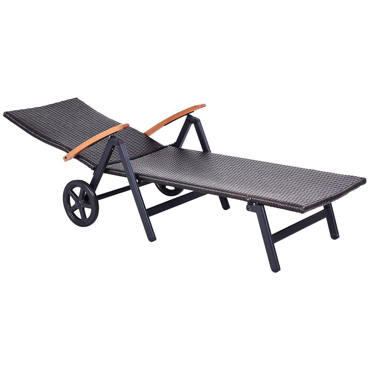 Item Valley Folding Back Adjustable Aluminum Rattan Lounge Recliner Chair W/Wheels Brown