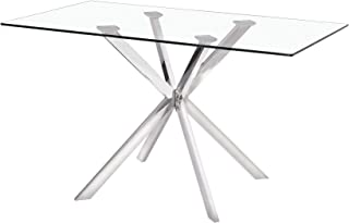 Uptown Club GM1224 Linus Collection Rectangle Modern Exquisite Chrome Frame Glass Top Dining Room Table, 51.2