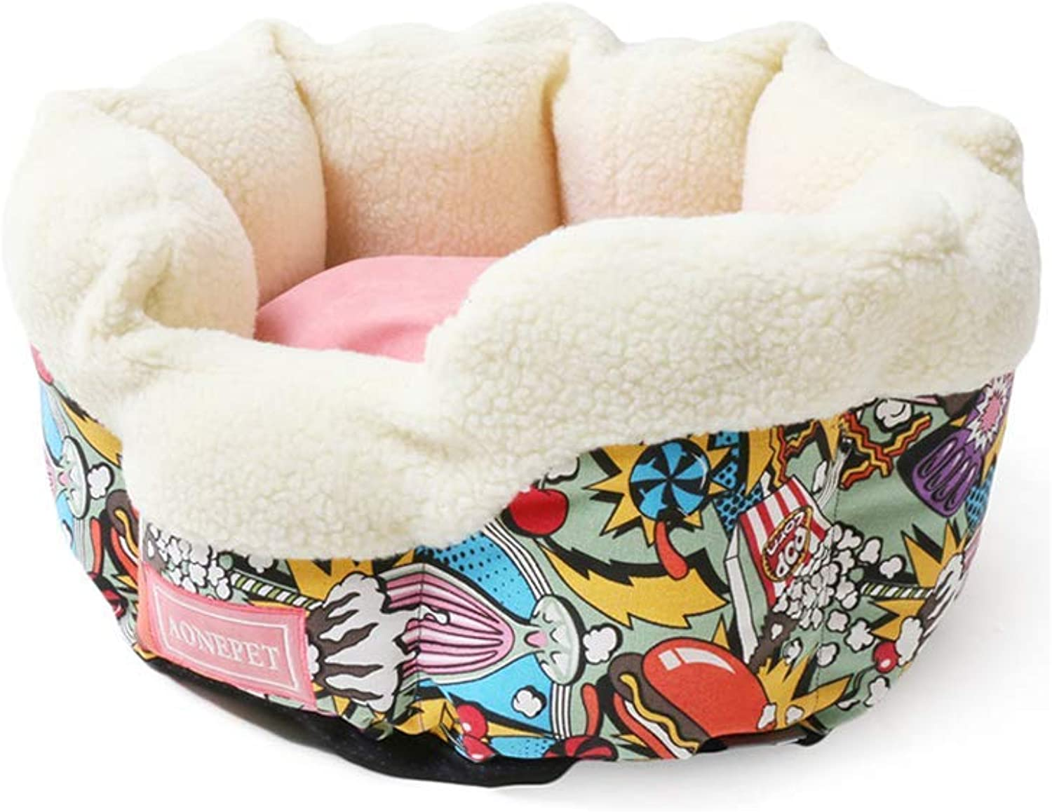 Kennel Autumn And Winter Pet Kitten Nest, Removable And Washable Small Dog Mat Warm And Comfortable Basket Shape Pet Nest,Size  46 × 46 × 23cm (color   A)