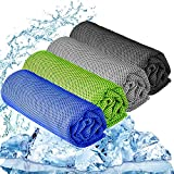 YQXCC Cooling Towel 3 Pcs (47'x12') Microfiber Towel For Instant Cooling Relief, Cool Cold Towel for Yoga Golf Travel Gym Sport Camping Football & Outdoor Sports (Dark Blue/Dark Gray/Light Gray/Green)