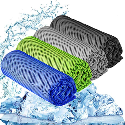 """YQXCC Cooling Towel 3 Pcs (47""""x12"""") Microfiber Towel For Instant Cooling Relief, Cool Cold Towel for Yoga Golf Travel Gym Sport Camping Football & Outdoor Sports (Dark Blue/Dark Gray/Light Gray/Green)"""