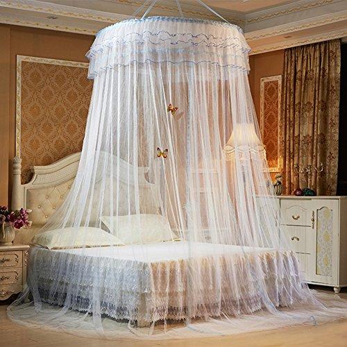 Moskitonetz, Samber Doppelbetten Insektennetz Kuppel Prinzessin Betthimmel Baldachin mit Dekorativer Schmetterling (Weiß)