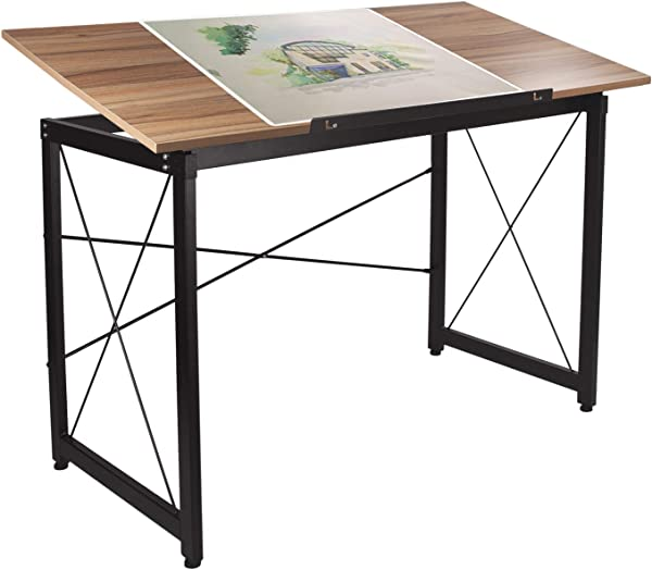 H A 47 X 24 Tiltable Drawing Desk Drafting Table Wood Surface Craft Station Versatile For Painting Writing Studying And Reading Maple