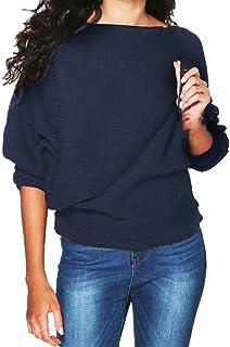 Kabxryaclo Tröja för kvinnor mohair stickad enkel långärmad rund hals topp stickat för kvinnor