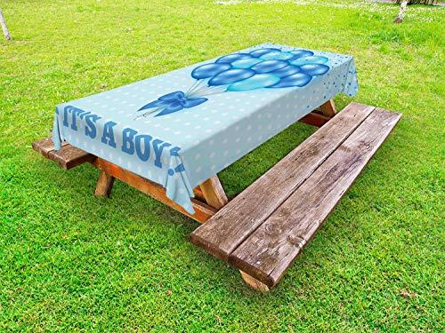 ABAKUHAUS Gender Reveal Tafelkleed voor Buitengebruik, Ballonnen Polka Dots, Decoratief Wasbaar Tafelkleed voor Picknicktafel, 58 x 120 cm, Hemelsblauw