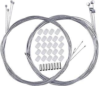 BUZIFU 8pcs Cable Freno y Cable Cambio, con 8 Terminales y 24 Donuts, de Acero, Bicicletas de MTB y Bicicletas de Carretera de Todas Las Marcas