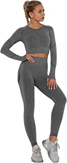 Workout Sets for Women 2 Piece High Waist Athletic Leggings with Stretch Sports Bra Workout Outfits Sets Activewear Sets